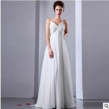 2017新款吊带式性感婚纱礼服长款齐地白色礼服女一件代发