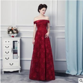 新款蕾丝一字肩长款礼服刺绣及地敬酒服晚宴长款礼服