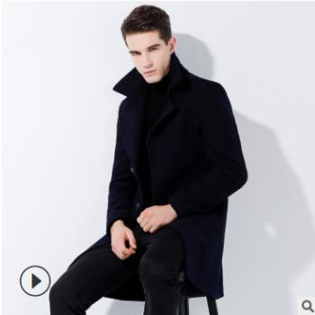 秋冬新款男式羊毛呢大衣免烫商务时尚跨境货源羊毛呢子外套男厂批