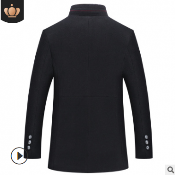 秋冬新款男士商务四色羊毛呢大衣立领加绒加厚中年跨境毛呢男外套