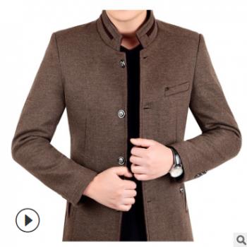 秋冬新款男式商务时尚羊毛呢夹克外套男士免烫羊毛呢子大衣厂批发