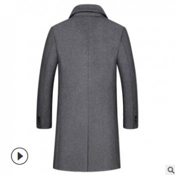 秋冬新款男式中长款毛呢大衣时尚加棉加厚羊毛男呢子外套跨境专供