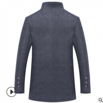 秋冬新款男式毛呢大衣亚马逊跨境货源顺毛羊毛呢男大衣外套厂批发