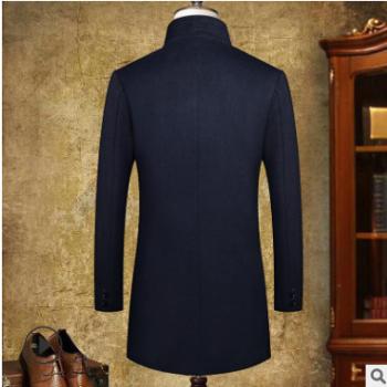 秋冬新款男式商务羊毛呢大衣男士免烫时尚羊毛呢子外套男厂批发