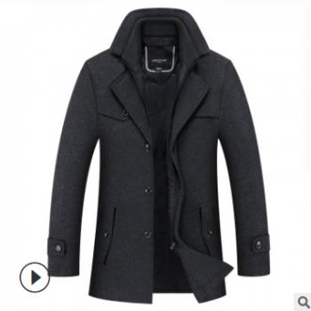秋冬新款男式羊毛呢大衣时尚双领跨境加厚毛呢男外套五色呢子男潮
