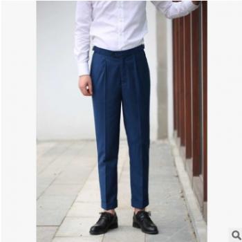新款 黑色复古高腰巴黎扣 修身西裤 收褶翻边款 男士裤 可定制
