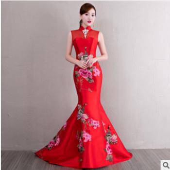 复古红色旗袍长款2019新款优雅修身性感蕾丝中式旗袍裙宴会晚礼服