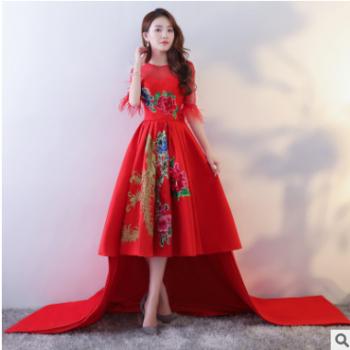 结婚晚礼服新娘敬酒服2019夏季中袖红色宴会礼服拖尾模特走秀礼服