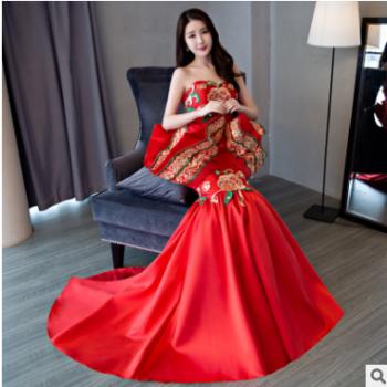 红色晚礼服2019夏季新款拖尾抹胸高腰宴会中式礼服优雅主持人礼服