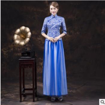 2019新款青花瓷时尚优雅蓝色晚宴宴会年会婚纱中式礼服款式多样