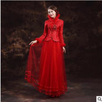 2019敬酒服旗袍婚礼新娘礼服长袖红色时尚旗袍裙中式婚礼长款结婚