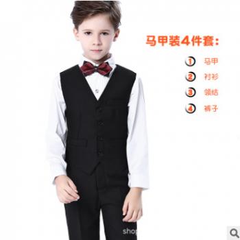 儿童礼服男婚礼花童马甲钢琴演出服春季宝宝表演服男童小西装套装