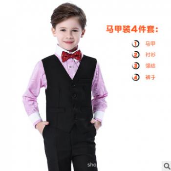 儿童生日礼服男宝宝婚礼花童男童马甲西装套装模特表演钢琴演出服