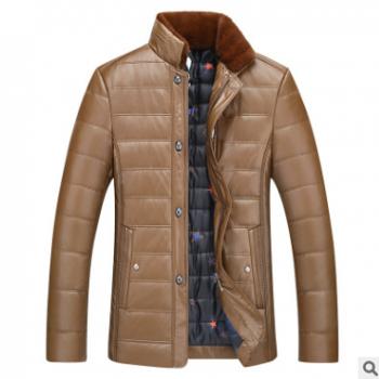 直销2018新款冬装中老年男士立领薄皮棉衣男装加厚兔毛领PU皮外套