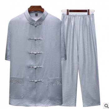 新款男唐装爷爷夏季短袖套装爸爸夏装中老年夏天棉麻中式汉服 批