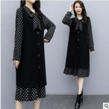 2019秋冬胖MM连衣裙加肥加大显瘦遮肉马甲两件套连衣裙