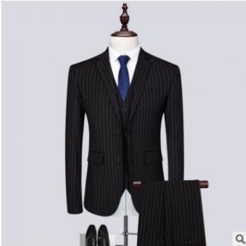 西服套装男士条纹三件套西装商务休闲主持新郎演出服men suit