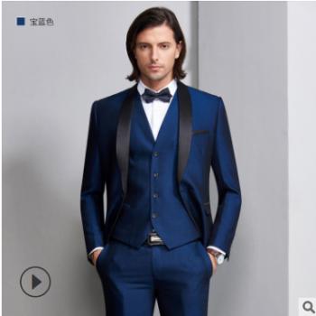 西装男套装三件套青果领礼服新郎司仪主持演出西装厂家可定制suit