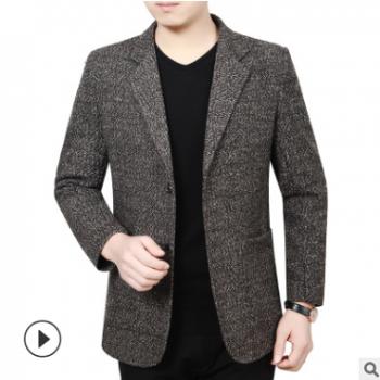 休闲商务西服男春秋季新款格纹小西装中年男装肘部补丁一件代发