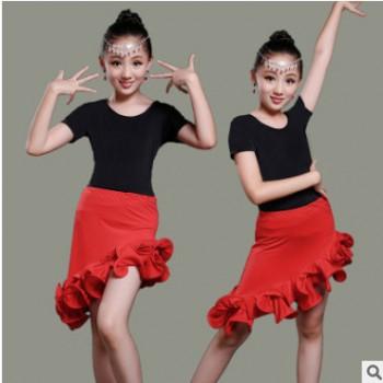 新款儿童拉丁舞裙舞台演出服夏女童舞蹈比赛服装短袖拉丁服练功服