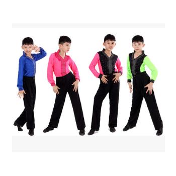 新款男童拉丁舞台表演服 男孩拉丁舞服装拉丁舞长袖考级服装长袖