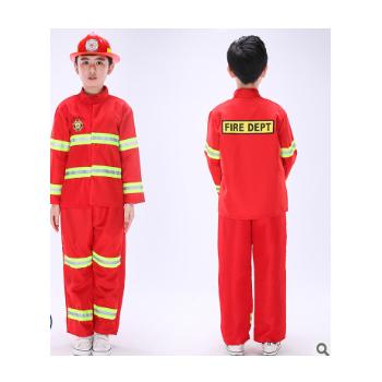 儿童消防员服装全套警察服套装角色扮演演出服小消防员防火服男童