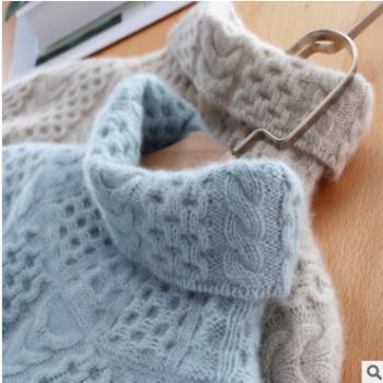 2019秋冬新款羊绒衫女高领套头宽松加厚慵懒风针织毛衣打底衫