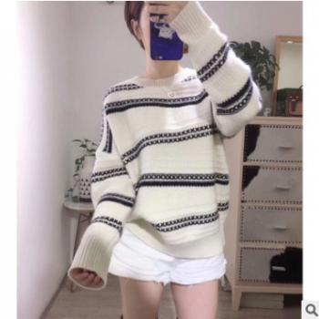 2019秋冬新款羊绒针织衫针显瘦加厚斜杠条纹新款慵懒风毛衣女宽松