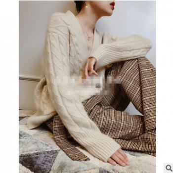 秋冬新品羊绒开衫女v领针织衫前短后长毛衣外套气质时尚羊毛衫