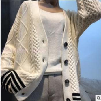 新品羊毛衫女v领开衫韩版毛衣外套女2019秋季宽松羊毛针织开衫潮