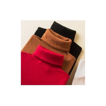 堆堆高领毛衣女冬季加厚针织内搭打底衫镂空长袖纯色宽松羊毛衫女