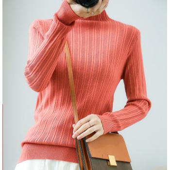 打底毛衣女士半高领毛衣冬宽松学生学院风长袖套头针织羊毛衫女