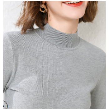 2019秋季新款韩版半高领羊毛衫修身型套头毛衣女式针织打底衫显瘦