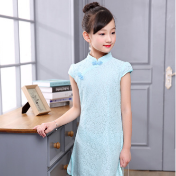 2018夏新款童装女童蕾丝旗袍连衣裙儿童中国风古装演出服女孩唐装