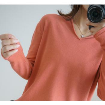 羊毛衫 长袖针织衫女V领卷边半帽衫毛衣纯色百搭打底衫19秋冬新品