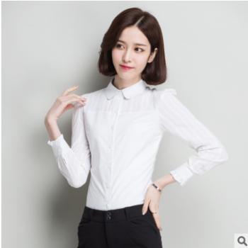 白衬衫女春秋长袖打底衫2018秋装新款女装修身韩版花边翻领衬衫