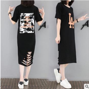 夏韩版大码女装短袖印花T恤裙200斤胖妹妹中长款连衣裙女