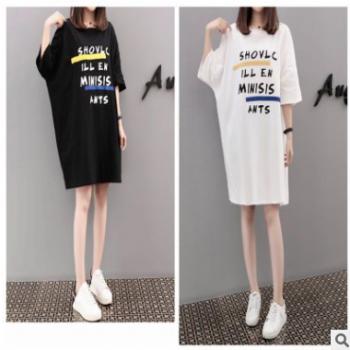 夏装新款韩版潮流宽松字母T恤连衣裙加肥加大码女装