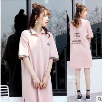 新款POLO衫立领宽松大版绣花短袖连衣裙T