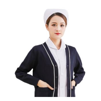 厂家批发护士毛衣女大码加绒加厚针织衫外搭蓝色医生冬季保暖外套