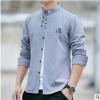 春季新款中国风男士纯棉长袖衬衫立领盘扣中式复古唐装休闲白衬衣