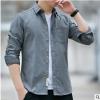 2019新款秋季男士长袖衬衫男修身型韩版潮流纯棉休闲衬衣男装衣服