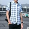 夏季格子衬衫男休闲薄款外套短袖男士衬衣韩版潮时尚纯棉寸衫男装