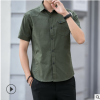 男士修身短袖衬衫韩版休闲衬衣服男装2019工装夏季五分袖寸衫帅气