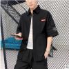 夏季5五分袖衬衫男中袖韩版潮流纯棉工装短袖衬衣薄款宽松休闲男