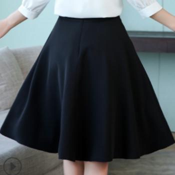 夏季新款女士雪纺半身裙中长款大摆裙子热天百搭休闲装上班工作裙