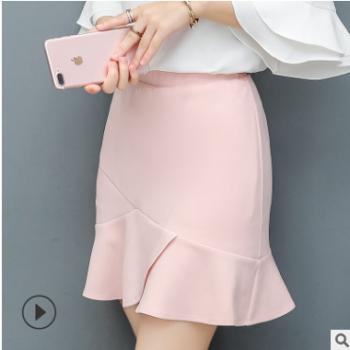 2019夏季新款包臀半身裙女韩版荷叶边鱼尾裙百搭防走光职业装裙裤