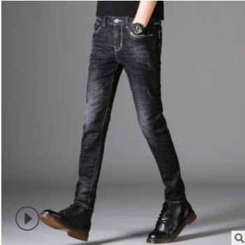 男式牛仔裤春秋季新款男士弹力小直筒修身韩版休闲青年中腰长裤