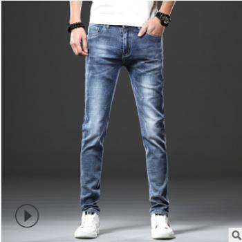 男士新款牛仔裤弹力夏季韩版薄款修身男式青年小脚裤韩版休闲裤子