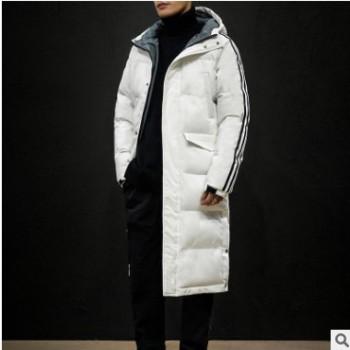 冬季男士休闲条纹棉袄青少年学生长款纯色保暖棉衣7920-P150